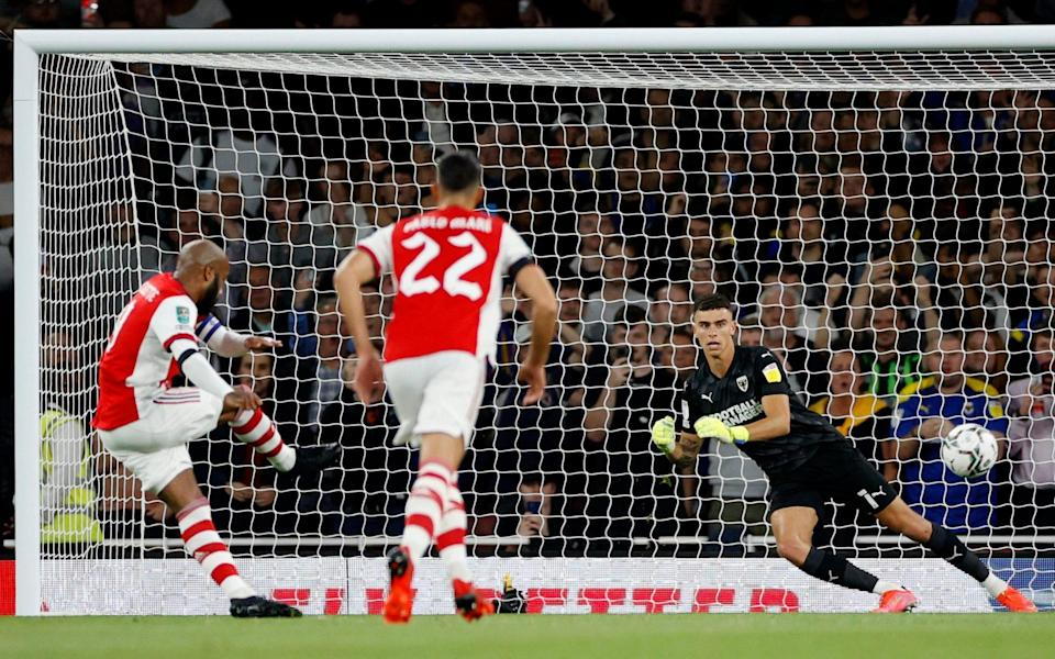 Arsenal's Alexandre Lacazette scores their first goal from the penalty spot - Action Images via Reuters/John Sibley