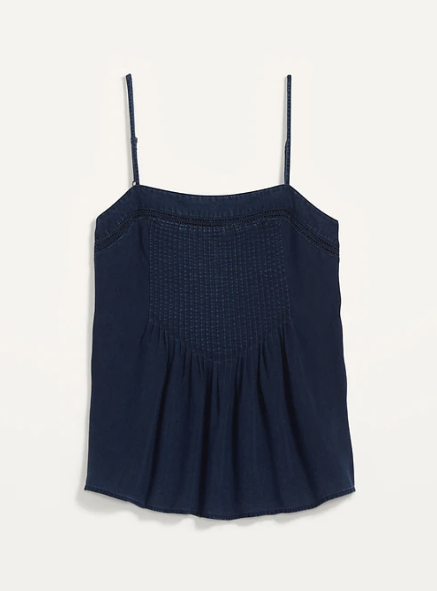 Square-Neck Pintucked Chambray Cami Top for Women- Old Navy