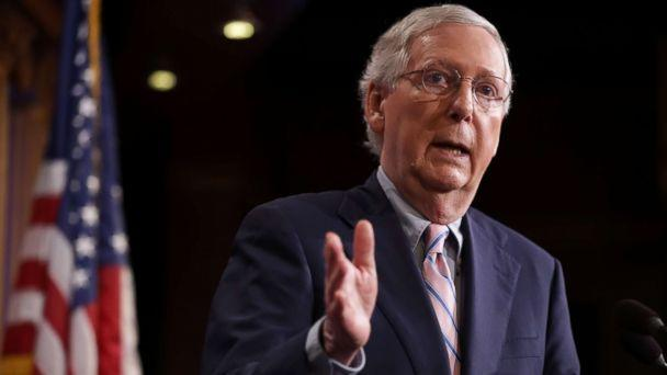 PHOTO: Senate Majority Leader Mitch McConnell talks to reporters after the Senate voted to confirm Supreme Court nominee Judge Brett Kavanaugh at the U.S. Capitol, Oct. 6, 2018, in Washington, DC. (Chip Somodevilla/Getty Images)