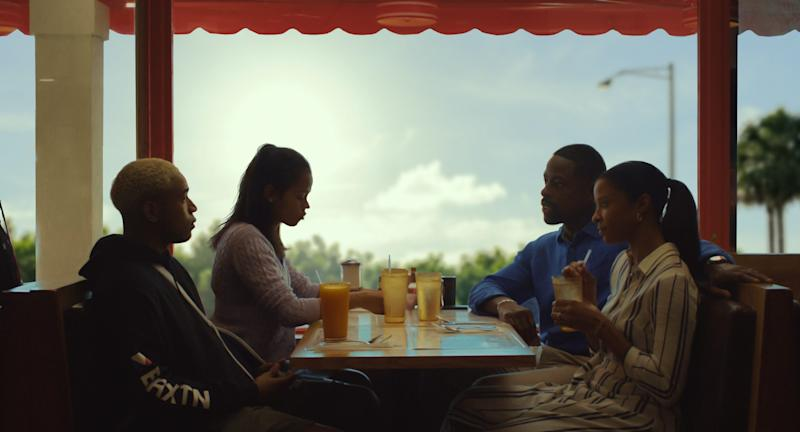 """""""Waves"""" tells the story of a successful Florida family: Tyler (Kelvin Harrison Jr., left), Emily (Taylor Russell), Ronald (Sterling K. Brown) and Catherine (Renee Elise Goldsberry)."""