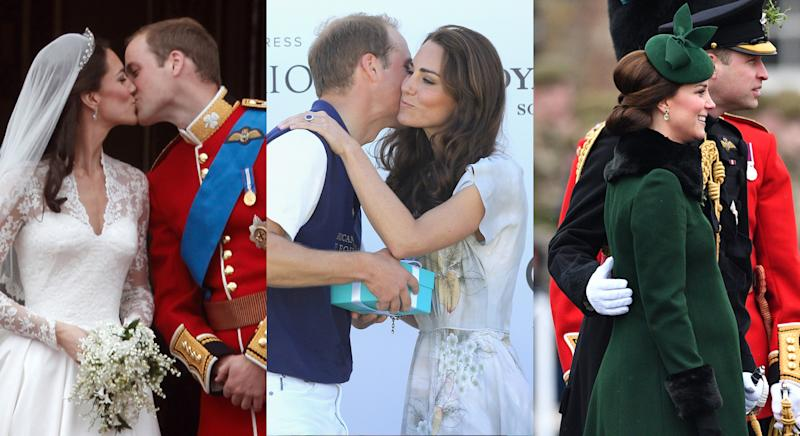 The Duke and Duchess of Cambridge are less frequent with their PDAs, but they still happen. [Photo: Getty, Getty, Rex]
