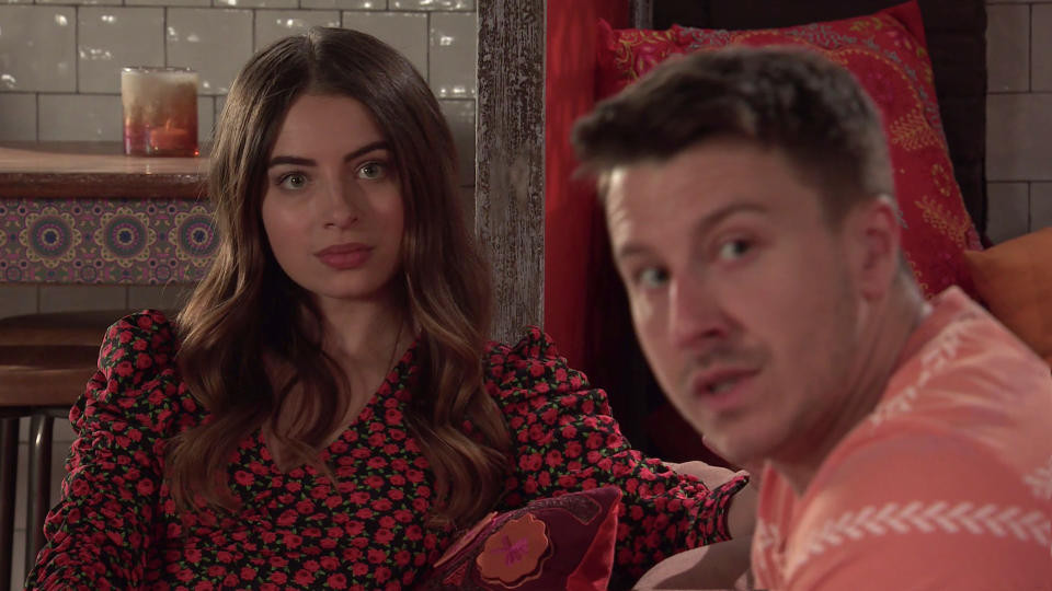 FROM ITV  STRICT EMBARGO - No Use Before Tuesday 3rd August 2021  Coronation Street - Ep 10399  Monday 9th August 2021 - 2nd Ep  When Daisy Midgely [CHARLOTTE JORDAN] criticises the food and makes a point of telling Alya Nazir [SAIR KHAN] that they got together as soon as heÕd split from her, Ryan ConnorÕs [RYAN PRESCOTT] annoyed and putting some cash on the table heads out.  Picture contact David.crook@itv.com   This photograph is (C) ITV Plc and can only be reproduced for editorial purposes directly in connection with the programme or event mentioned above, or ITV plc. Once made available by ITV plc Picture Desk, this photograph can be reproduced once only up until the transmission [TX] date and no reproduction fee will be charged. Any subsequent usage may incur a fee. This photograph must not be manipulated [excluding basic cropping] in a manner which alters the visual appearance of the person photographed deemed detrimental or inappropriate by ITV plc Picture Desk. This photograph must not be syndicated to any other company, publication or website, or permanently archived, without the express written permission of ITV Picture Desk. Full Terms and conditions are available on  www.itv.com/presscentre/itvpictures/terms