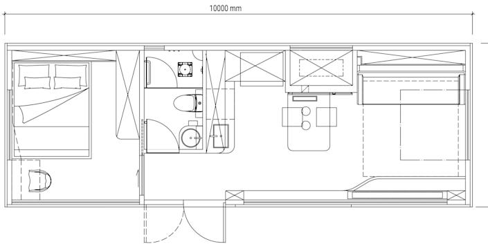 basic floor plan of the one-bedroom Cube Two X