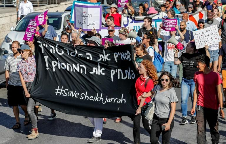 A June 4 demonstration in Sheikh Jarrah by Palestinian, Israeli and foreign activists against Israeli occupation and settlement activity in the Palestinian territories and east Jerusalem