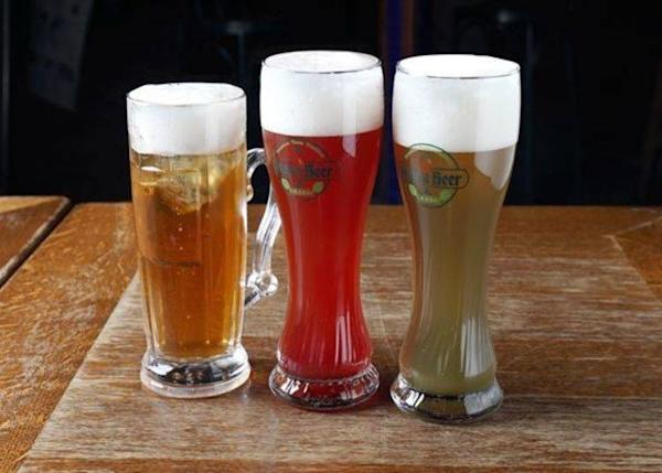 From the left: Apple Cider, Himbeer Beer, Waldmeister