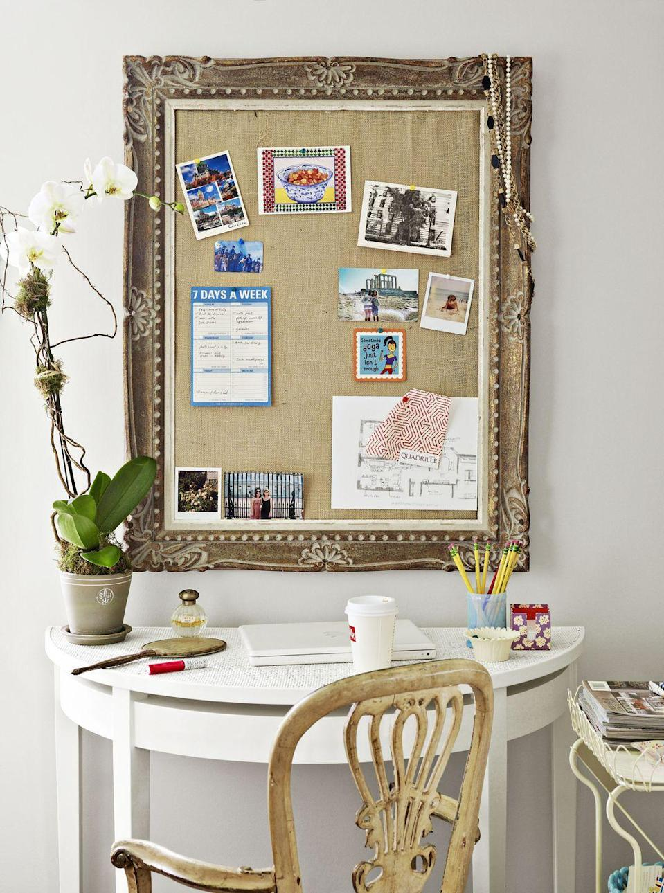 <p>If you're short on space, stick a console table against a blank wall for a makeshift office. Hang a framed bulletin board directly above the workspace for added inspiration. </p>