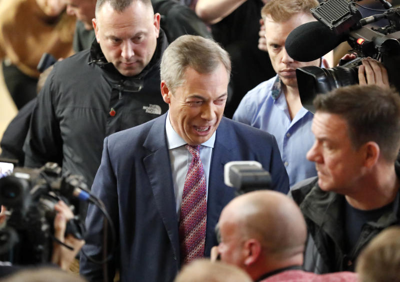 Brexit party leader Nigel Farage speaks to journalists during an event as part of the General Election campaign trail, in Hartlepool, England, Monday, Nov. 11, 2019. Britain goes to the polls on Dec. 12. (AP Photo/Frank Augstein)