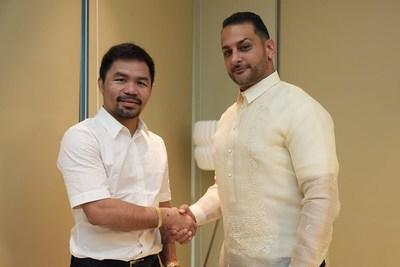 Manny Pacquiao left, and Audie Attar Founder, Chairman and CEO of Paradigm Sports Management.