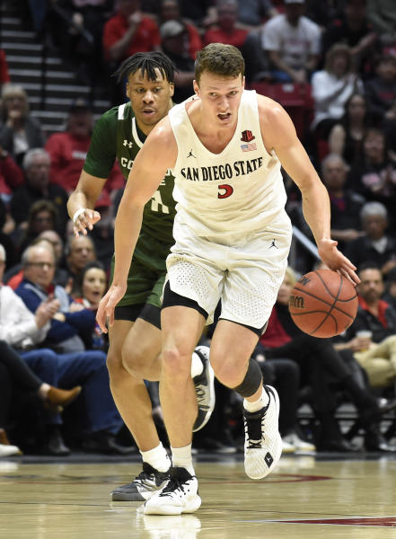 San Diego State forward Yanni Wetzell (5) steals the ball from Colorado State forward Dischon Thomas (11) during the first half of an NCAA college basketball game Tuesday, Feb. 25, 2020, in San Diego. (AP Photo/Denis Poroy)
