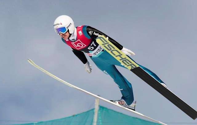 Ski Jumping - FIS World Cup - Men's HS240 Qualification - Vikersund, Norway - March 16, 2018 Simon Ammann of Switzerland in action. Terje Bendiksby/NTB Scanpix/via REUTERS ATTENTION EDITORS - THIS IMAGE WAS PROVIDED BY A THIRD PARTY. NORWAY OUT.