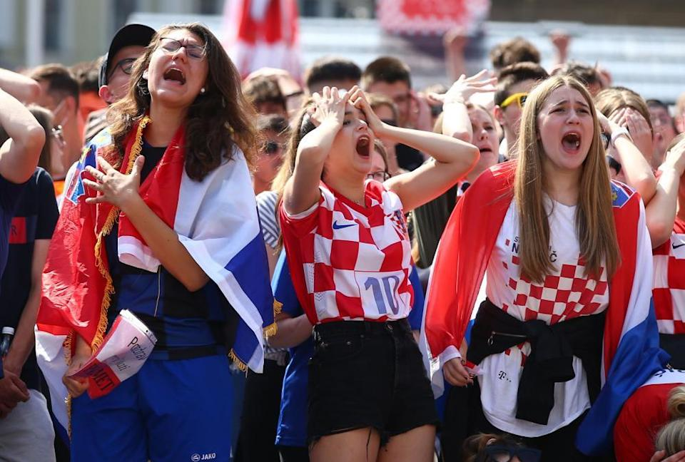 Croatia fans in Zagreb react after England's first goal