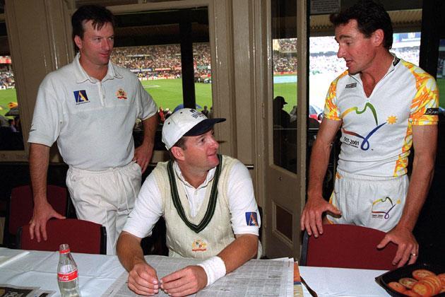Australia cricket captain Steve Waugh and Mark Waugh appearing in his 100th Test Match talk to Pat Farmer who has recently completed a run around Australia in record time to celebrate a century of Federation for Australia as rain delays the first days play of the Third Test match between Australia and India at the Sydney Cricket Ground, Sydney, Australia. Mandatory Credit: Hamish Blair/ALLSPORT