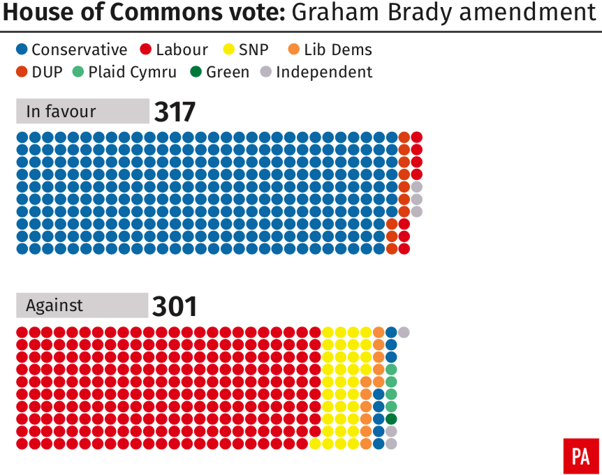 <em>The Brady amendment won support from Leave and Remain supporting Tories (PA)</em>