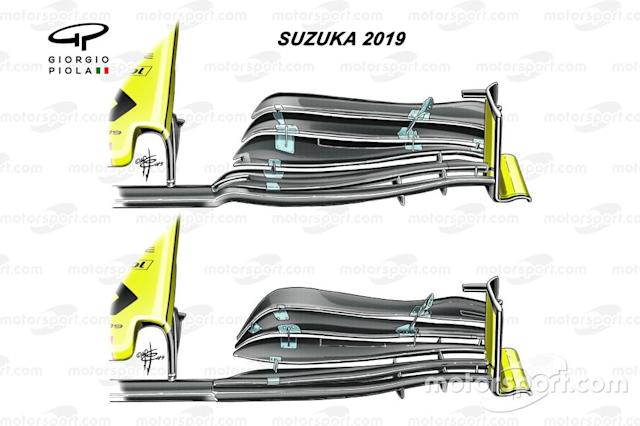 """Renault R.S.19 front wing comparison Japanese GP <span class=""""copyright"""">Giorgio Piola</span>"""