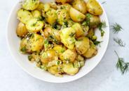 """Slightly more acidic than the American-style potato salad, German potato salad is loaded with vinegar, chives, and dill—and it is ready for summer. <a href=""""https://www.bonappetit.com/recipe/german-potato-salad-dill?mbid=synd_yahoo_rss"""" rel=""""nofollow noopener"""" target=""""_blank"""" data-ylk=""""slk:See recipe."""" class=""""link rapid-noclick-resp"""">See recipe.</a>"""