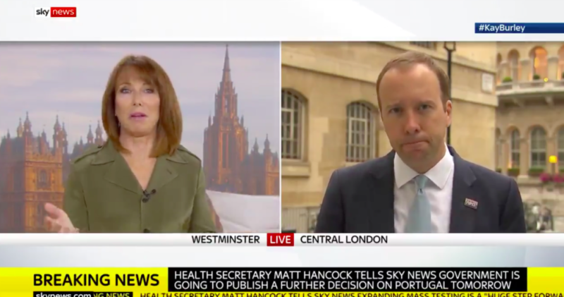 Sky News presenter Kay Burley asked Matt Hancock if he thought Tony Abbott was a 'misogynist' and 'homophobic'. (Sky News)