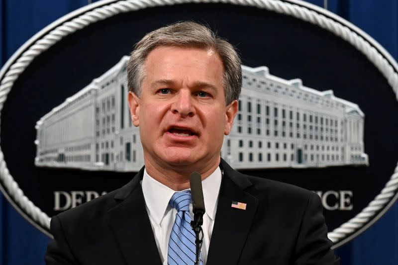 FILE PHOTO: FBI Director Christopher Wray speaks during a press conference on a national security matter at the Department of Justice in Washington