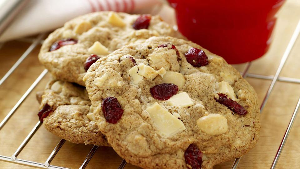 """<p>With a little bit of tartness and a little bit of crunch, these macadamia and cranberry white chocolate chunk cookies are an excellent treat at holiday parties or all year round.</p> <p><a href=""""https://www.thedailymeal.com/recipes/macadamia-and-cranberry-white-chocolate-chunk-cookies-recipe?referrer=yahoo&category=beauty_food&include_utm=1&utm_medium=referral&utm_source=yahoo&utm_campaign=feed"""" rel=""""nofollow noopener"""" target=""""_blank"""" data-ylk=""""slk:For the Macadamia and Cranberry White Chocolate Chunk Cookies recipe, click here."""" class=""""link rapid-noclick-resp"""">For the Macadamia and Cranberry White Chocolate Chunk Cookies recipe, click here.</a></p>"""