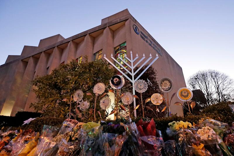 A menorah is installed outside the Tree of Life Synagogue in preparation for a celebration service at sundown on the first night of Hanukkah, Sunday, Dec. 2, 2018 in the Squirrel Hill neighborhood of Pittsburgh.  (Photo: ASSOCIATED PRESS)