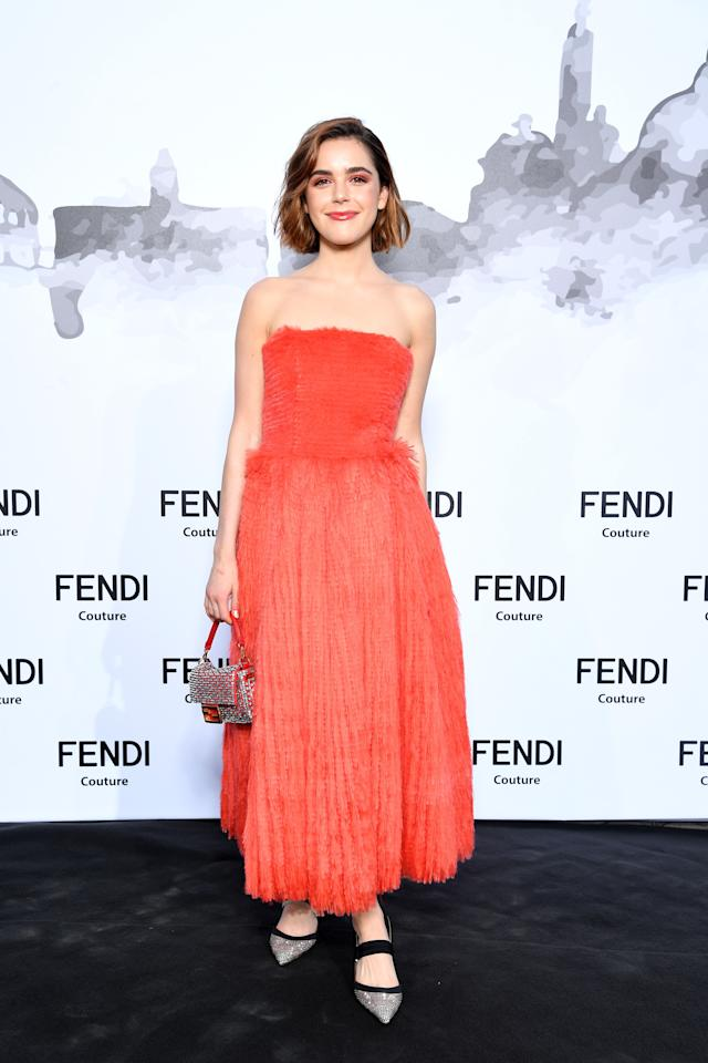Kiernan kept things haute couture with this stunning coral at the Fendi show.