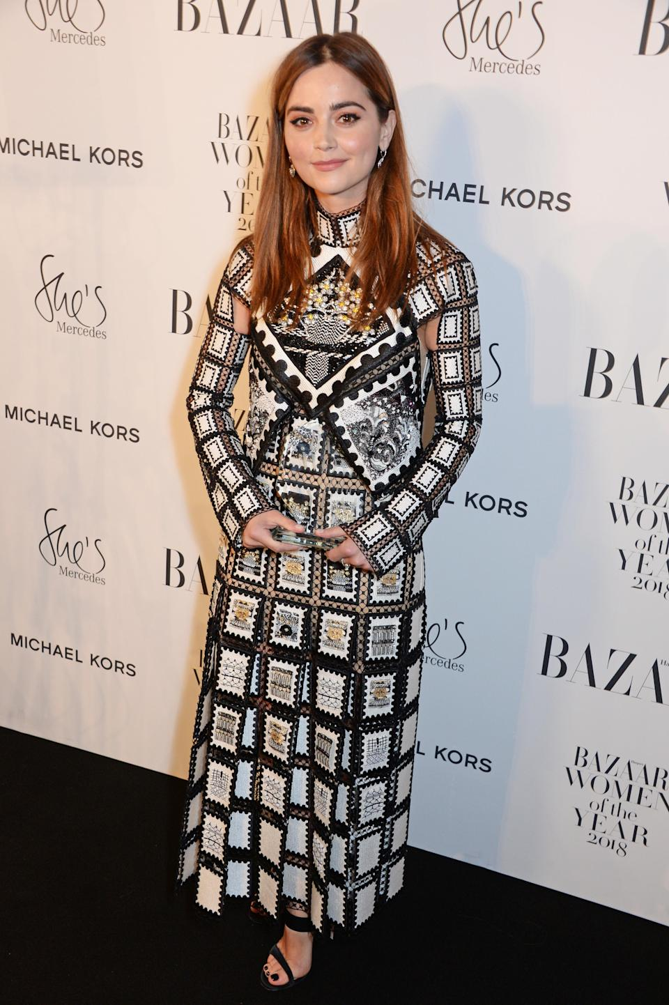 <p>Jenna, who most recently starred in hit BBC series 'The Cry'<em>,</em> accepted the award for Best TV Actress at the Harper's Bazaar awards ceremony. She wore a beaded Mary Katranzou maxi dress last night at the awards in London. <em>[Photo: Getty]</em> </p>