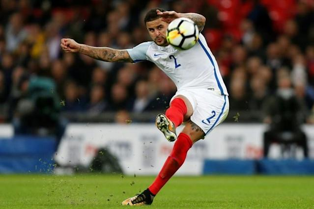 England's defender Kyle Walker takes a shot from a free kick during the FIFA World Cup 2018 qualification football match against Slovenia October 5, 2017