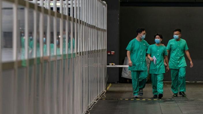 File photo of medical workers in Hong Kong