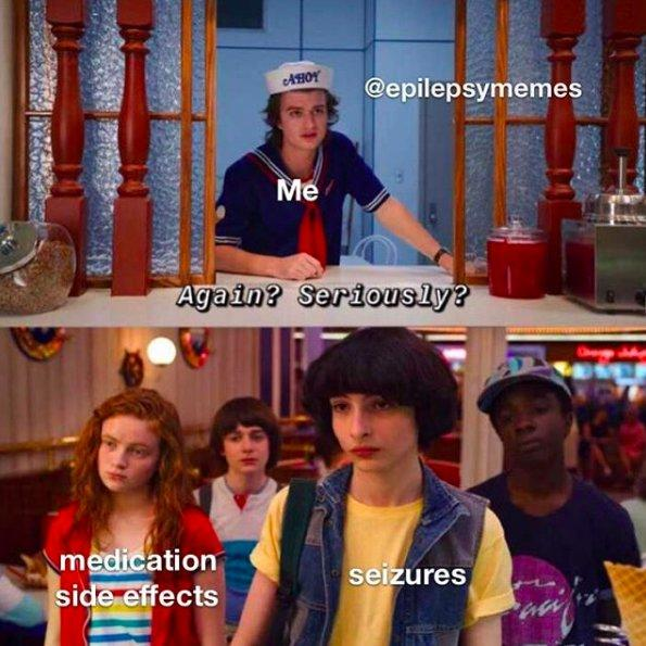 stranger things meme of mike and max at the ice cream counter with steve saying again?