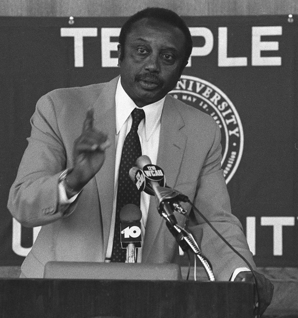 FILE - In this Aug. 18, 1982, file photo, John Chaney speaks during a news conference at Temple University in Philadelphia, the day after being named their NCAA college basketball head coach. John Chaney, one of the nation's leading Black coaches and a commanding figure during a Hall of Fame basketball career at Temple, has died. He was 89. His death was announced by the university Friday, Jan. 29, 2021. (AP Photo/A. Schnell, File)