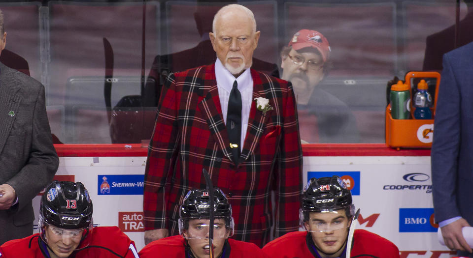 VANCOUVER, BC - JANUARY 28:  Head coach Don Cherry of Team Cherry is pictured on the bench while his team faces team orr during the third period of their CHL/NHL Top Prospects game at the Pacific Coliseum on January 28, 2016 in Vancouver, British Columbia, Canada. (Photo by Ben Nelms/Getty Images)