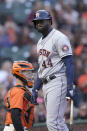 Houston Astros' Yordan Alvarez (44) reacts after striking out against the San Francisco Giants during the third inning of a baseball game Friday, July 30, 2021, in San Francisco. (AP Photo/Tony Avelar)