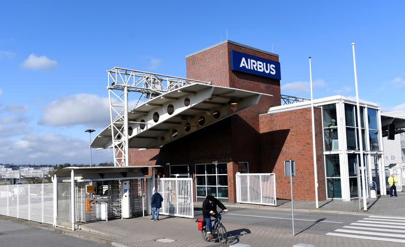 An employee leaves the plant of  Airbus during the outbreak of coronavirus disease (COVID19) in Hamburg