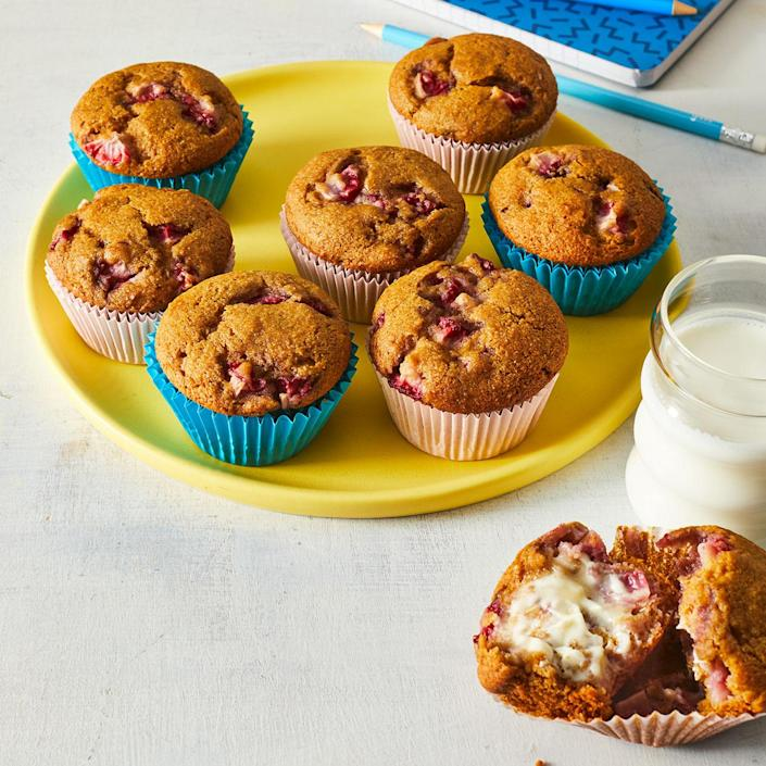 <p>Kids in the Massachusetts Farm to School program used smart recipe swaps when they created these strawberry muffins: applesauce to replace some of the oil lowers calories, and whole-wheat flour instead of all-purpose flour brings added fiber and more nutrients.</p>