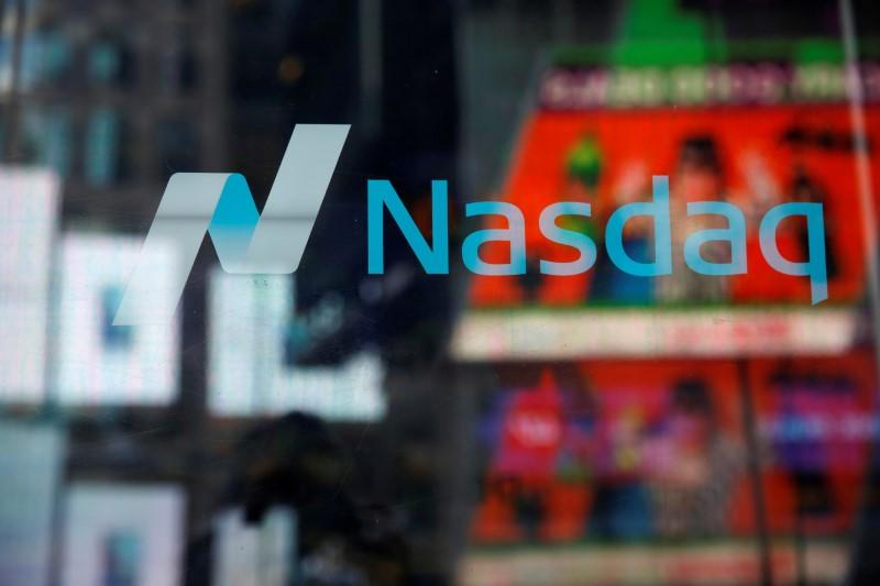 A view of the exterior of the Nasdaq market site in Times Square in the Manhattan borough of New York City