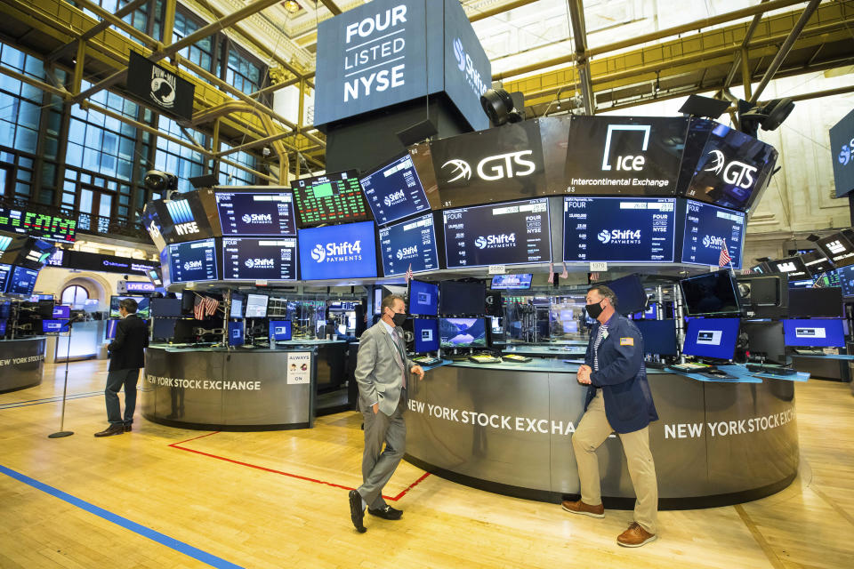 IMAGE DISTRIBUTED FOR THE NEW YORK STOCK EXCHANGE - The New York Stock Exchange welcomes Shift4 Payments, Inc. (NYSE: FOUR) in celebration of its IP on Friday, June 5, 2020, in New York.  (New York Stock Exchange via AP Images)