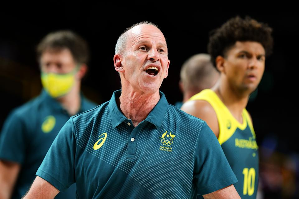 TOKYO, JAPAN - AUGUST 05: Australia coach Brian Goorjian during the Men's Basketball Semifinal match between USA and Australia on Day 13 of the Tokyo 2020 Olympic Games at Saitama Super Arena on August 05, 2021 in Tokyo, Japan. (Photo by Pete Dovgan/Speed Media/Icon Sportswire via Getty Images)