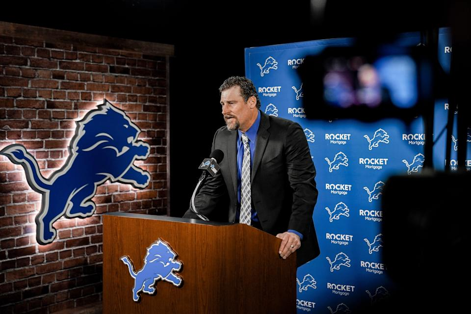 Detroit Lions head coach Dan Campbell is introduced at a virtual news conference at the practice facility in Allen Park, Jan. 21, 2021.