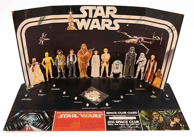 "Kenner's once notorious ""Early Bird Certificate Package"" contained a cardboard stand for the toymaker's 12 original figures, which weren't available in time for the holidays. (Photo courtesy of the <em>Star Wars</em> Collectors Archive)"