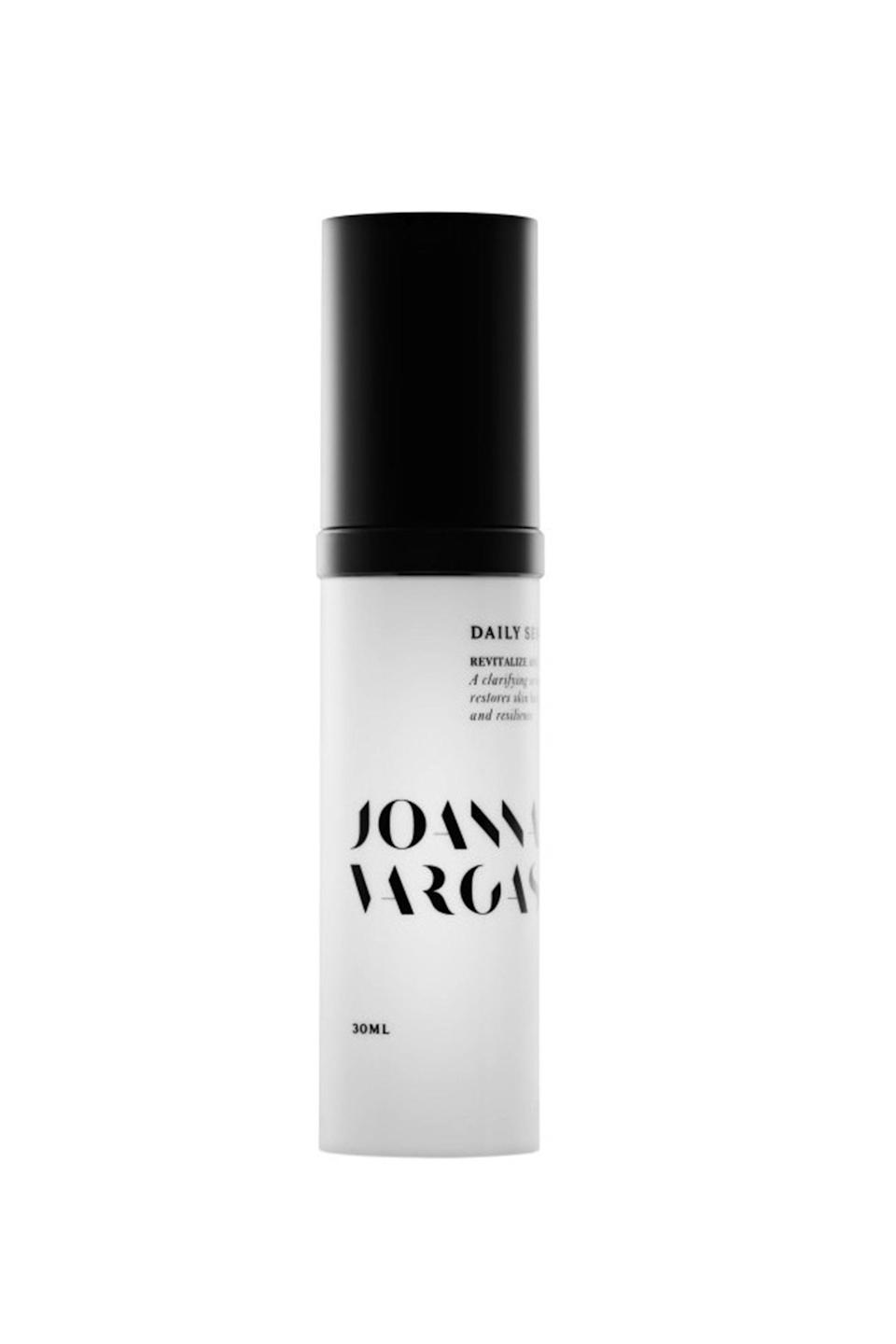 """<p><strong>Joanna Vargas</strong></p><p>net-a-porter.com</p><p><strong>$85.00</strong></p><p><a href=""""https://go.redirectingat.com?id=74968X1596630&url=https%3A%2F%2Fwww.net-a-porter.com%2Fus%2Fen%2Fproduct%2F1056994%3Fcm_mmc%3DGoogle-ProductSearch-US--c-_-NAP_EN_US_PLA-_-NAP%25C2%25A0-%25C2%25A0US%25C2%25A0-%25C2%25A0GS%25C2%25A0-%2BDesigner%2B-%2BClass_Beauty%2B-%2BType_Skincare%25C2%25A0-%25C2%25A0High%25C2%25A0-%25C2%25A0BT--Skincare%2B-%2BSerum_AM%26gclid%3DCj0KCQjwuafdBRDmARIsAPpBmVXdepew8xe0UAtw747KgjN5FP15A1WCY0PP5txlwiFqQGGhRzWRcREaApNKEALw_wcB%26gclsrc%3Daw.ds&sref=https%3A%2F%2Fwww.elle.com%2Fbeauty%2Fmakeup-skin-care%2Ftips%2Fg8091%2Fface-serum%2F"""" rel=""""nofollow noopener"""" target=""""_blank"""" data-ylk=""""slk:Shop Now"""" class=""""link rapid-noclick-resp"""">Shop Now</a></p><p>A favorite among celebrity dermatologist Vargas' clients like Dakota Johnson and Mindy Kaling, this serum is infused with vitamins A, C, E, and F to even natural skin tone and minimize the appearance of pores.</p>"""
