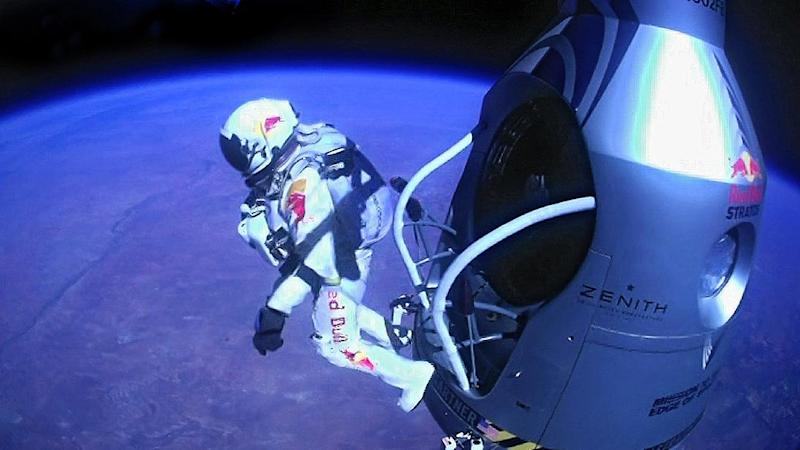 "FILE - A Sunday, Oct. 14, 2012 file image provided by Red Bull Stratos shows pilot Felix Baumgartner of Austria as he jumps out of the capsule during the final manned flight for Red Bull Stratos. According to the official numbers released Monday, Feb. 4, 2013, the Austrian parachutist known as ""Fearless Felix"" reached 843.6 mph. That's equivalent to Mach 1.25, or 1.25 times the speed of sound. His top speed initially was estimated last October at 834 mph, or Mach 1.24. (AP Photo/Red Bull Stratos, File)"