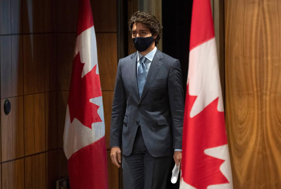 Prime Minister Justin Trudeau arrives for a news conference in Ottawa on Oct. 20, 2020.   (Photo: Adrian Wyld/CP)
