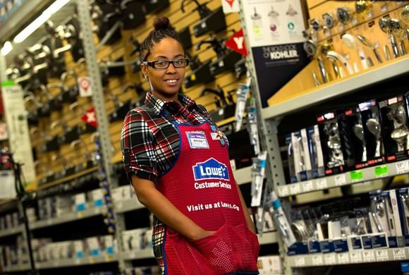 Lowe's employee in bath fixtures department