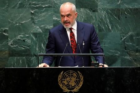 FILE PHOTO: Prime Minister of Albania Edi Rama addresses the 74th session of the United Nations General Assembly at U.N. headquarters in New York