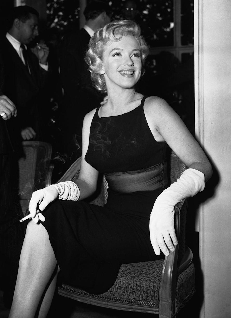 """<p>Marilyn was signed to star in <a href=""""https://www.amazon.com/Prince-Showgirl-Marilyn-Monroe/dp/B006SA5XJO/ref=sr_1_1?keywords=the+prince+and+the+showgirl&qid=1562955822&s=gateway&sr=8-1&tag=syn-yahoo-20&ascsubtag=%5Bartid%7C10050.g.28612852%5Bsrc%7Cyahoo-us"""" rel=""""nofollow noopener"""" target=""""_blank"""" data-ylk=""""slk:The Prince and the Showgirl"""" class=""""link rapid-noclick-resp""""><em>The Prince and the Showgirl</em></a> (1957) with Laurence Olivier, who also directed and produced the film. Unfortunately, her erratic behavior on set caused tension with the cast and crew. The film received mixed reviews. </p>"""