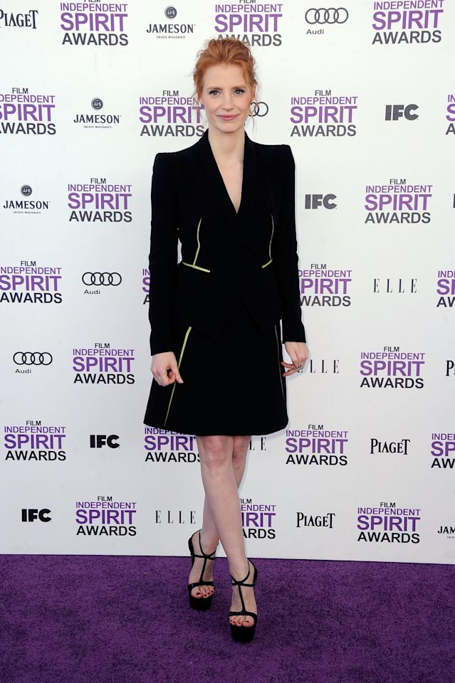 SANTA MONICA, CA - FEBRUARY 25:  Actress Jessica Chastain arrives at the 2012 Film Independent Spirit Awards on February 25, 2012 in Santa Monica, California.  (Photo by Frazer Harrison/Getty Images)