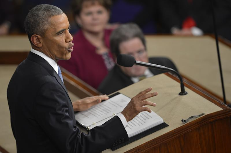 US President Barack Obama delivers his State of the Union address on Capitol Hill on January 20, 2014 in Washington, DC