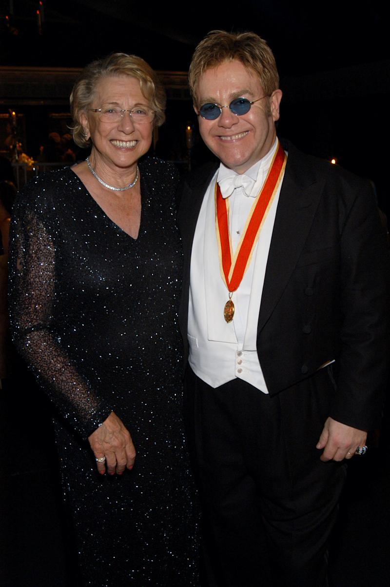 Sir Elton John and his mother Sheila Farebrother during The Fifth Annual White Tie & Tiara Ball to Benefit the Elton John Aids Foundation in Association with Chopard - Dinner at Elton John Residence in Windsor, England, United Kingdom. (Photo by KMazur/WireImage)
