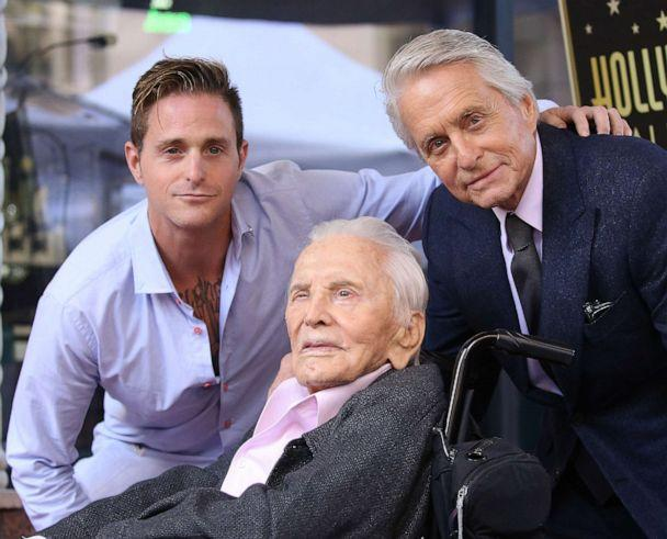 PHOTO: Cameron Douglas, Kirk Douglas and Michael Douglas attend the ceremony honoring Michael Douglas with a Star on The Hollywood Walk of Fame held on November 06, 2018, in Hollywood. (Michael Tran/FilmMagic via Getty Images, FILE)