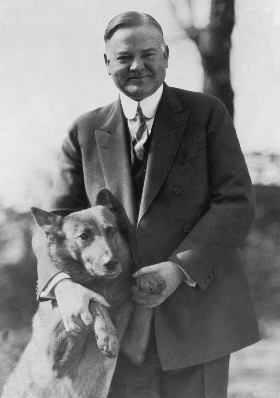 <p>Presidents and dogs just make for a naturally great pairing. Here, President Hoover poses sweetly with King Tut, a Belgian shepherd, circa 1935. </p>