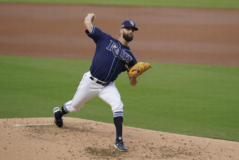 Tampa Bay Rays relief pitcher Nick Anderson throws during the third inning in Game 5 of a baseball American League Division Series against the New York Yankees, Friday, Oct. 9, 2020, in San Diego. (AP Photo/Gregory Bull)